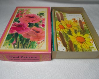 13 Vintage Birthday Cards & Envelopes, Floral Cards