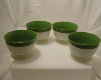 Raffiaware Dessert Cups 1970's Avocado Green and White