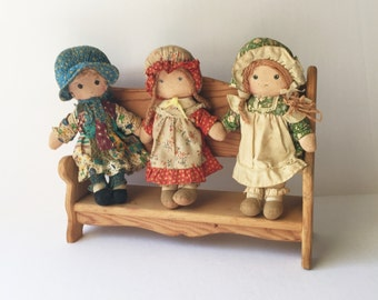 Vintage Holly Hobbie and Friends Dolls and Bench, 9 Inch Holly Hobbie Carrie and Amy Rag Dolls, 1970s Knickerbocker American Greetings Dolls