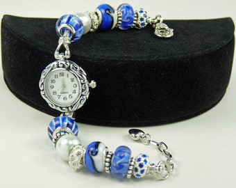 OCEAN WAVE BLUE: European Style Large Hole Beaded Watch Bracelet