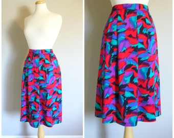 Vintage RED ABSTRACT FLORAL Skirt/Midi Skirt/Size XLarge-PlusSZ