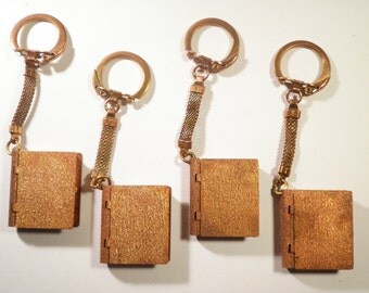 4 Copper Coated Bible Book Key Chains