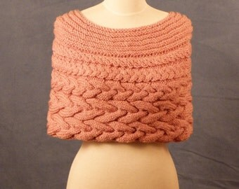 """Bridal Cover Up, Wedding Capelet, hand knit in cable pattern, ready to ship, size 34"""" to 38"""""""