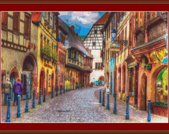 Kaysersberg Street Cross Stitch Pattern