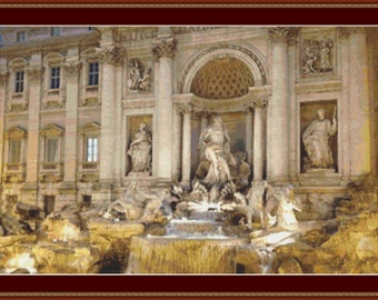 Trevi Fountain, Rome Cross Stitch Pattern