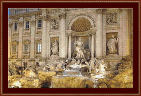 Trevi Fountain, Rome Cross Stitch Pattern /Digital PDF Files /Instant downloadable