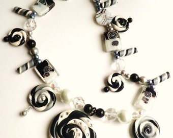 25% off Tuxedo Swirl Black and White Polymer Clay Lollipop Necklace