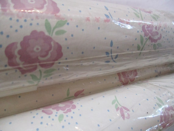 Floral contact paper drawer liner craft supply 4 rolls pink country rose shabby cottage chic baby's room nursery decor