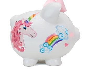 Unicorn & Rainbow Piggy Bank Personalizeable