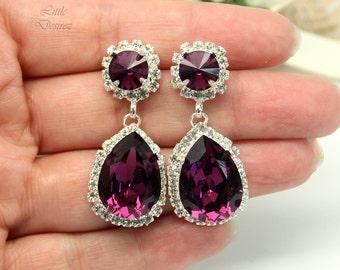 Amethyst Earrings Swarovski Chandelier Earrings Purple Bridal Earrings Wedding Crystal Earrings Vintage Wedding Victorian Jewelry AM31DD