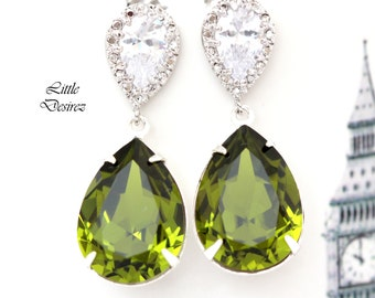 Green Earrings Olive Green Earrings Swarovski Green Earrings Olivine Crystal Bridal Earrings Bridesmaid Gift Bridal Party Jewelry OG31P