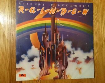 Vintage 1975 Ritchie Blackmores Rainbow  Ronnie James Dio Vinyl Record Album Hard Rock Gate fold