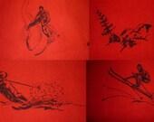 1940s Shirt / ML - L / Skier / McGregor / Flannel / Vintage 1940s Mens Shirt / Ski / Winter Shirt / Suicide Skier / Rockabilly / Novelty