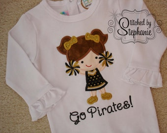Girls Embroidered Personalized Monogrammed School Team Spirit Pirates Black Gold Cheerleader Applique Long Sleeve ruffle bodysuit or shirt