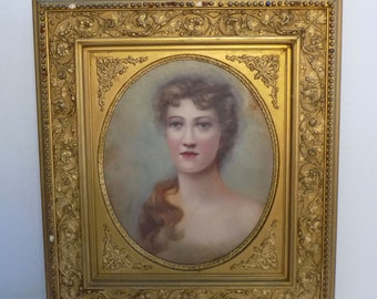 """Gilt Gesso Antique Frame - Victorian Woman Oil Painting Canvas - Art Nouveaux Neoclassical French Regency Wall Hanging 24""""x27"""" Washington DC"""