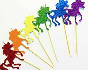 Rainbow unicorn cupcake toppers- Unicorn- Rainbow- Cupcake Toppers- Set of 12