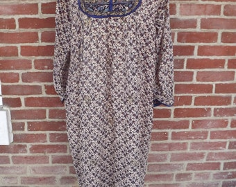 1970s cotton print ethnic hippie dress