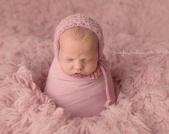 NEW Lydia Bonnet, Newborn Photo Prop, Alpaca Newborn Bonnet, Newborn Hat, Ready to Ship