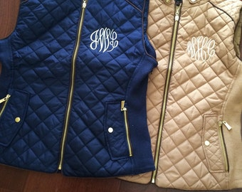 Monogram Quilted Vest Preppy Lightweight Personalized Navy Camel