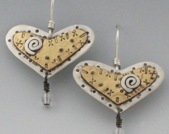 Heart Earrings, Gold and Silver Heart Earrings, Layered Metal Heart Earrings, RP0075ER