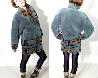 Vintage Skila Faux Fur Coat Size 38 / M
