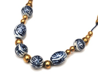 Blue White Bead necklace Chinese porcelain Blue Gold bead blue silk strand