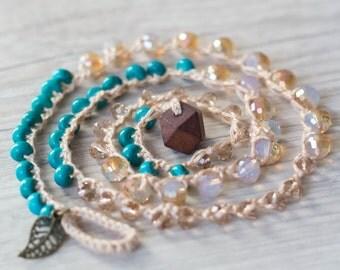 Golden wrap bracelet with turquoise Crochet necklace Beaded bracelet Boho jewelry Beach jewelry