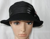 Handmade Black Felt Ladies Dress/Church Hat