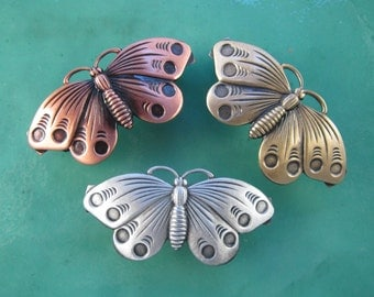 Butterly  French Barrette 50mm- Hair Accessories- Hair Clips- Silver Barrettes- Small Barrettes