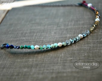Bar Necklace Colorful Gemstones Semi Circle Sterling Silver Chain Jewelry Modern Half Moon by Letemendia