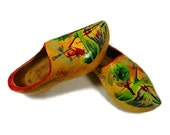 Dutch Clogs, Wooden Clogs, Hand Carved, hand painted Clogs, Netherlands Folk Art, Made in Holland, Retro Decor, Handmade Shoes, Cottage Chic