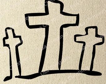 Cross, Easter Illustration, Instant Download, Clipart, Digital Transfer Image for Papercrafts, Pillows, Fabric, Iron on Transfer 239