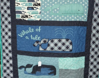 Quilt - Quilted Baby Blanket - Baby Quilt - Baby Quilt for Boy - A Whale of a Tale