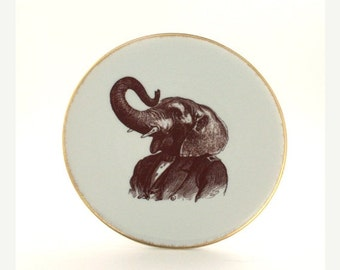 Summer Sale 20% Off Mister Elephant Altered Plate Porcelain Suit  Human Clothes Anthropomorphic Animal Jungle Gold Rim Sugar White Vintage G