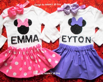 Minnie Mouse Birthday outfit Dress up cake smash first Pink RED purple Skirt Bodysuit bow Personalized NB 3 6 9 12 18 24 3 4 5 Toddler SALE