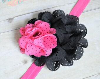 Hot Dots Hair Accessory - Headband OR Clip- Hot Pink- Black