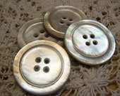 """Antique Large 1-3/16"""" Abalone Carved Shell Buttons, Set of 4 (1671)"""