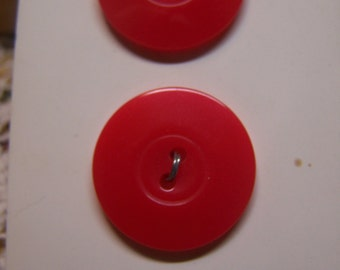 "Vintage 7/8"" Red Buttons, Set of 2 (1644)"