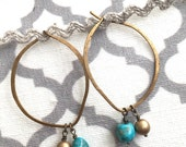 Turquoise beaded earrings, gold beaded hoops, minimalist, geometric, boho earrings, ooak
