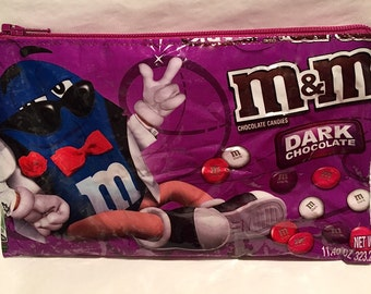 M&M's Valentine Candy Wrapper Up-cycled Zippered Bag/Pouch