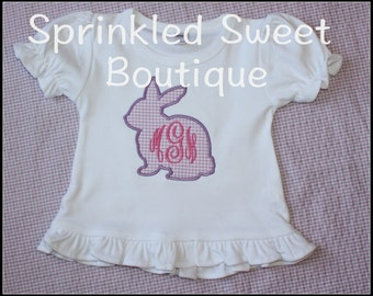 Easter Bunny Gingham Monogram Girls Spring Custom Applique Shirt