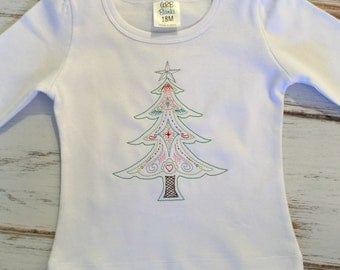 Vintage Christmas Tree Cute Merry Christmas Holiday Custom Shirt Onesie Boy or Girl Add Name for Free