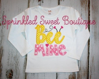 Valentines Day Love Bee Mine Custom Monogram Applique Shirt Girls Boys Baby First Valentines Day Shirt Bumble Bee Heart