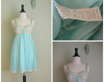 Vintage Blue Chiffon and Lace Babydoll// 1960's
