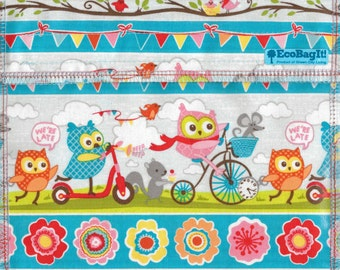 EcoBagIt! XL - Keep Fresh reusable sandwich bag: OWL PARADE