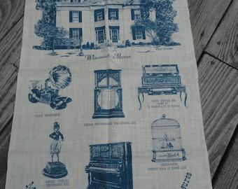 Vintage Unused Maine Tea Towel , Kay Dee Pure Linen, Maine Mechanical Musical Treasures, Musical Wonder House, Wiscasset Maine