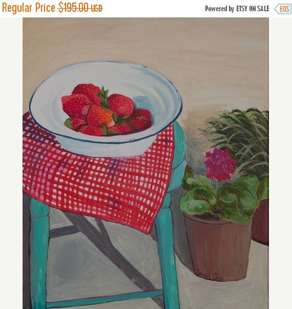 FALL SALES Original acrylic painting - Strawberries - tablecloth - flowers