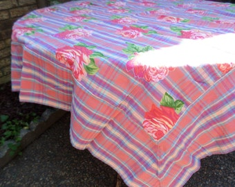 "Vintage April Cornell Classic Florals 50""x53""-Roses and Stripes Cotton/Lurex Tablecloth"