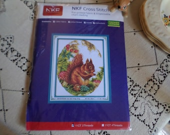 Vintage Japan-NKF Cross Stitch-Pre-Printed Cotton Red Squirrel Craft Set-Thread/Needle/Chart