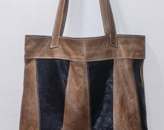 Soft Slouchy Italian Leather Tote Large Bag Lined City Bag Black Brown Tan Handmade in USA